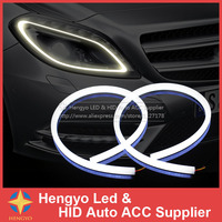 2x60cm White And Yellow Amber Tube Switchback Headlight Car LED Strip For Car Light White To