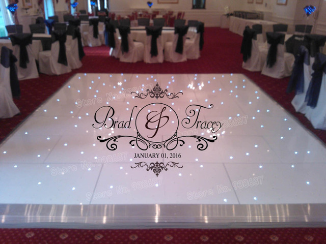 Reception party damask theme vinyl decals dance floor stickers wedding day decoration personalized bride groom names