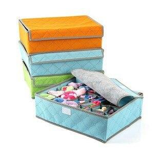 2016 Fashion blue Various Grid Design Simple Fashion Convenient Folding Storage Box Bag for Bra Underwear