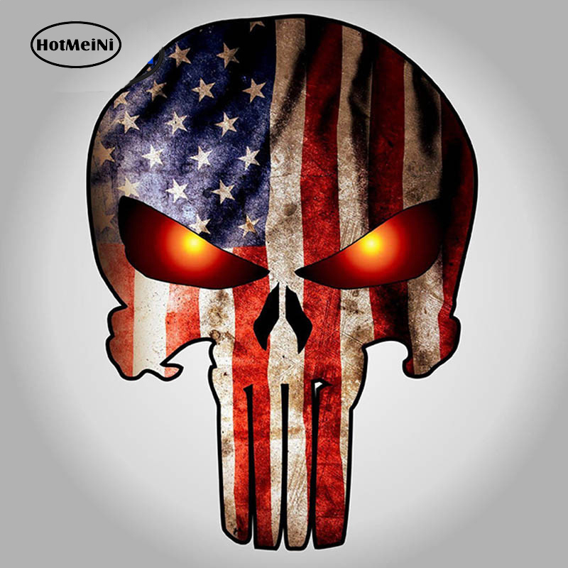 HotMeiNi 9.5*14cm Punisher Skull with American Flag and Glowing Eyes Car Stickers Decal Marvel Comics Car Body Motorcycles Decor image