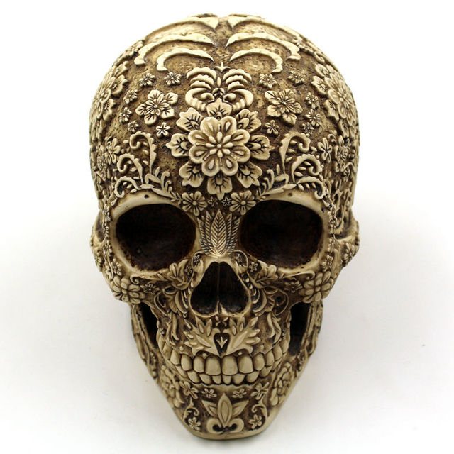 Halloween Home Bar Table Grade Decorative Craft Human Skull Resin Mask Cluster Flower Human Skeleton Skull Decoration With Box 1