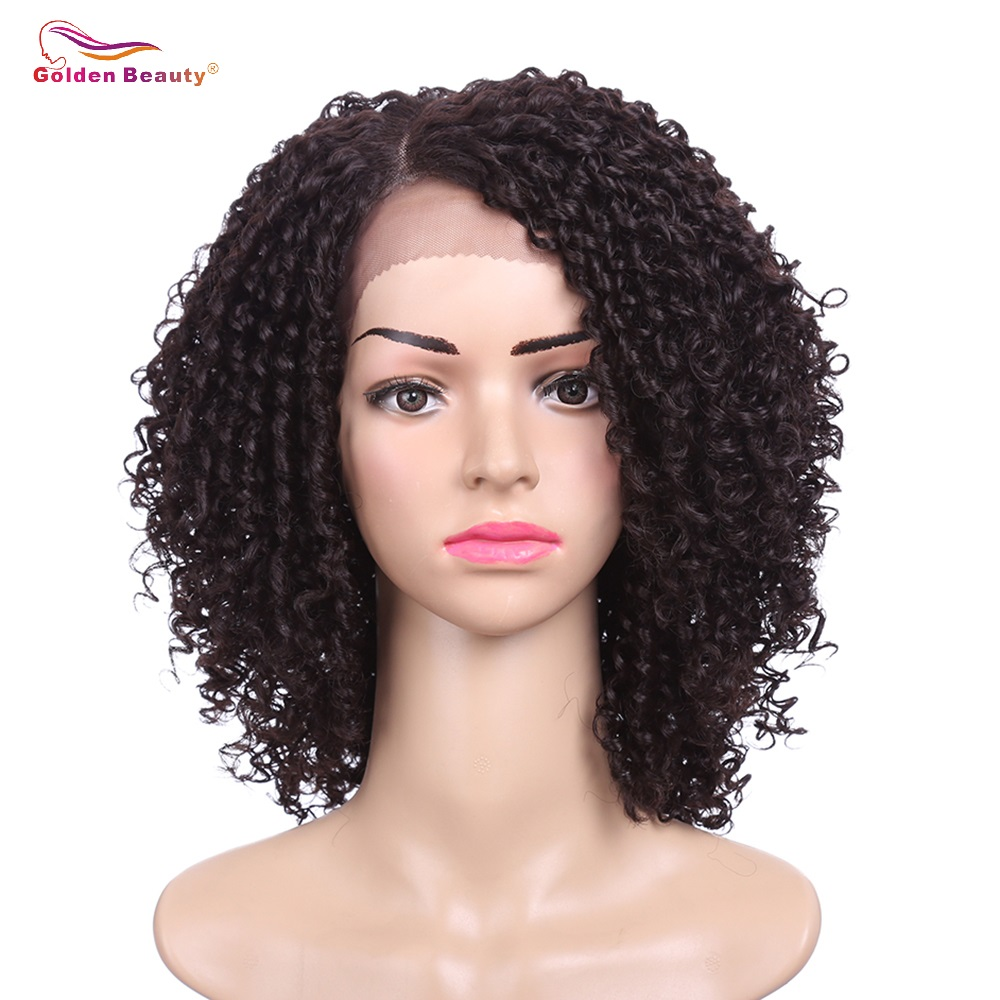 14inch Short Hair Kinky Curly Wig Synthetic Lace Front Wig African American Wigs for Black Women Golden Beauty(China)