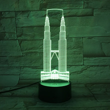 Kuala Lumpur City Petronas Twin Towers USB 3D led night light Festival Gift Famous Buildings decorative lights Desk lamp bedroom