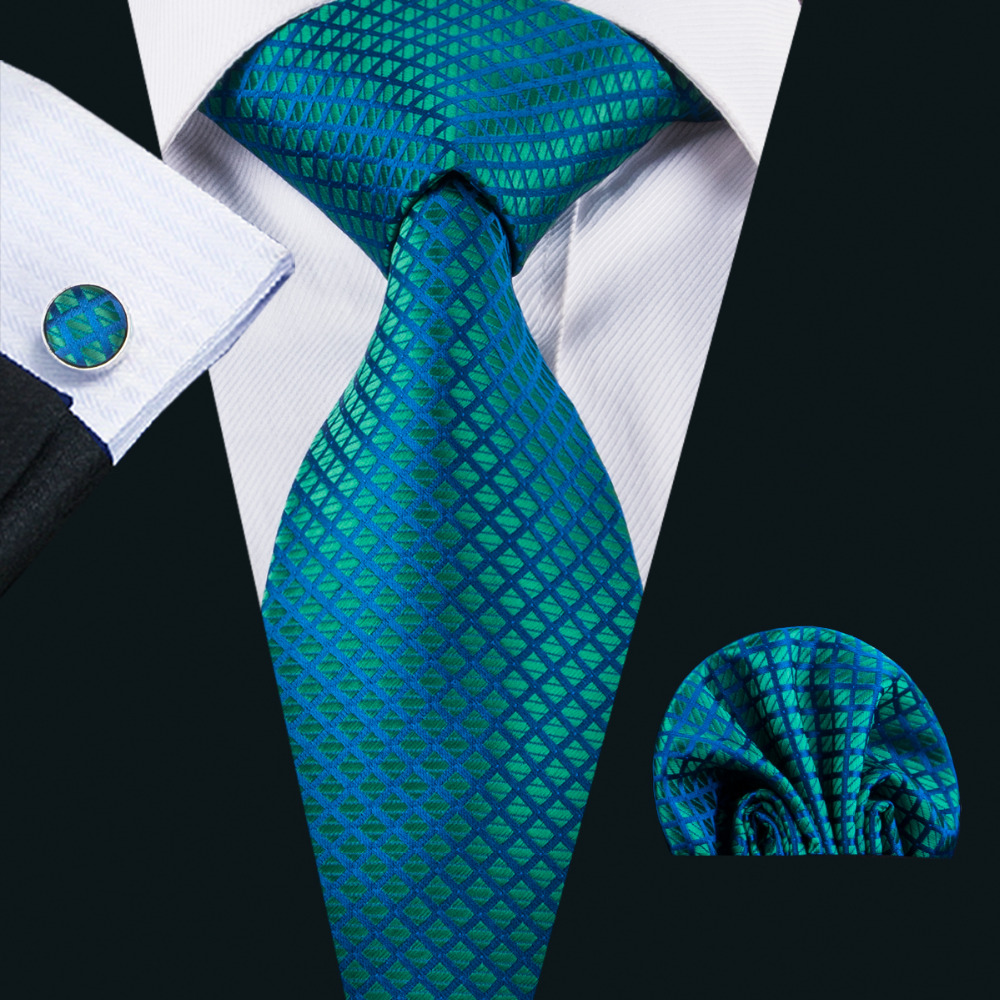 LS-1610 Barry.Wang 2017 Men`s Tie 100% Silk Jacquard Woven Necktie Hanky Cufflinks Sets For Formal Wedding Business Party