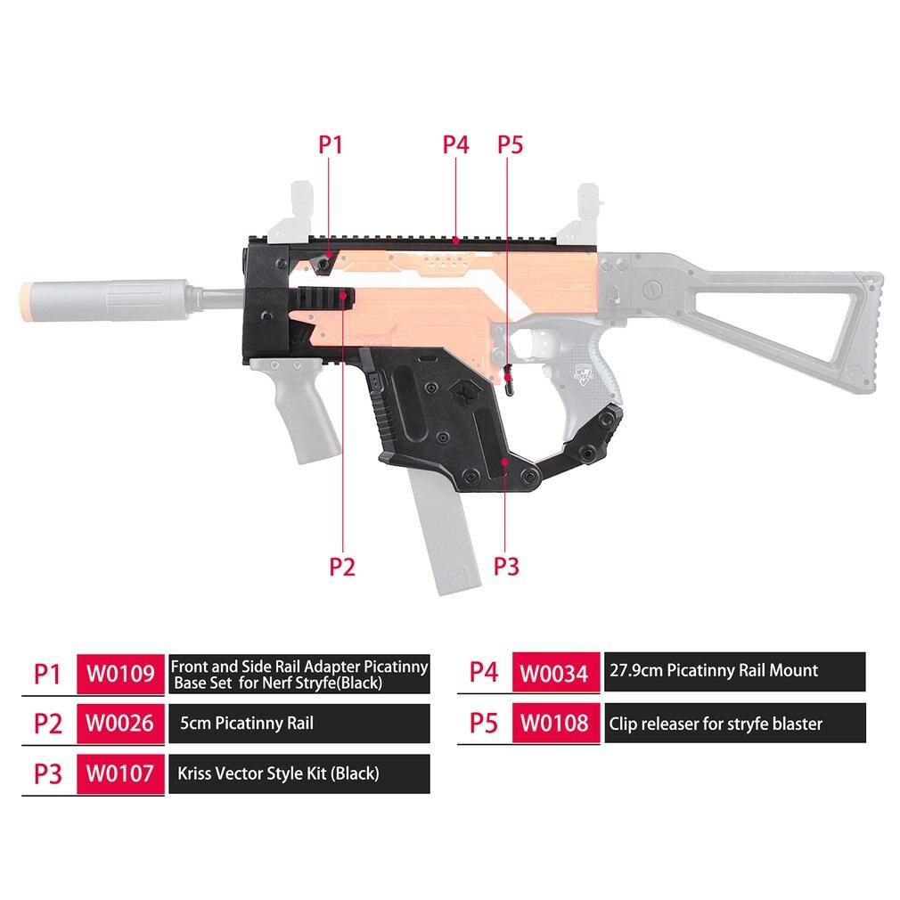 Kit d'imitation de vecteur MOD Kriss modularisé d'impression 3D en plastique haute résistance Combo A 6 articles pour Nerf STRYFE modifier pistolet de jouets bricolage
