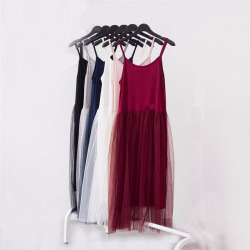 Modal spaghetti strap patchwork mesh gauze organze lace tank dress basic sundress.jpg 250x250