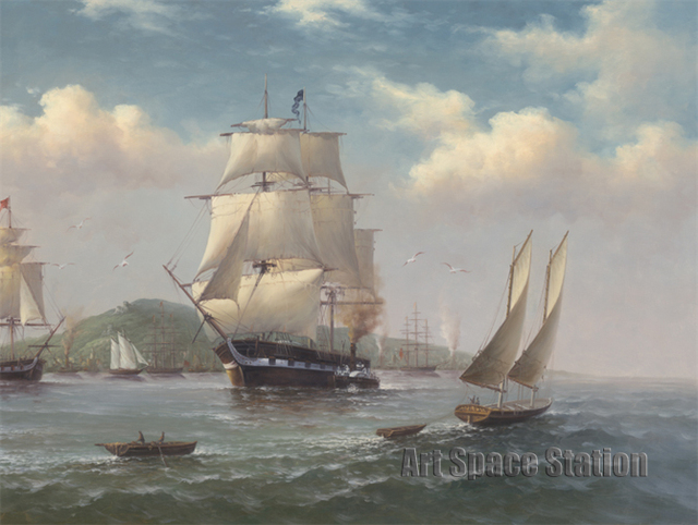 Sin marco vela barcos barco en el mar pintura al óleo moderna ...