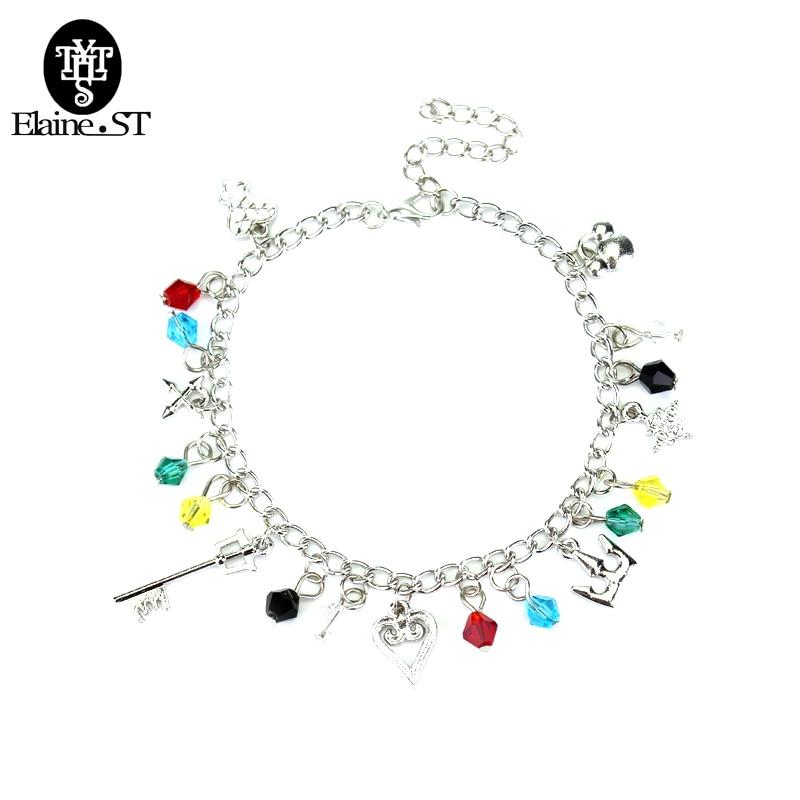 Kingdom Hearts Charm Bracelet: Handmade Kingdom Hearts Charm Bracelet Key Crown Heart