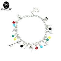 Handmade Kingdom Hearts charm bracelet Key Crown Heart Fashion Accessories Women Jewelry crystal Bracelets Bangles Free Shipping