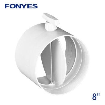 HVAC válvula de aire de plástico de 200mm amortiguador de flujo de volumen válvula de retención de conducto de aire manual para tubería de ventilación de 8 pulgadas