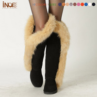 INOE cow suede leather real fox fur fashion thigh over the knee winter snow boots for women long winer shoes flats black grey