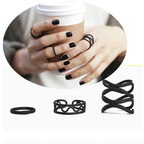 3 Pçs/set Geometria Exagerada Do Punk Retro Personalidade Multilayer Oco Black Metal Cruz Anéis Banda Knuckle Ring Set Para As Mulheres