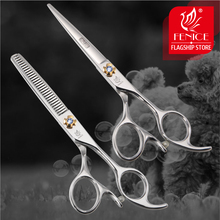 Fenice pet grooming scissors set Professional Japan 440c 6.0 inch cutting+thinning shears thinning rate 30%