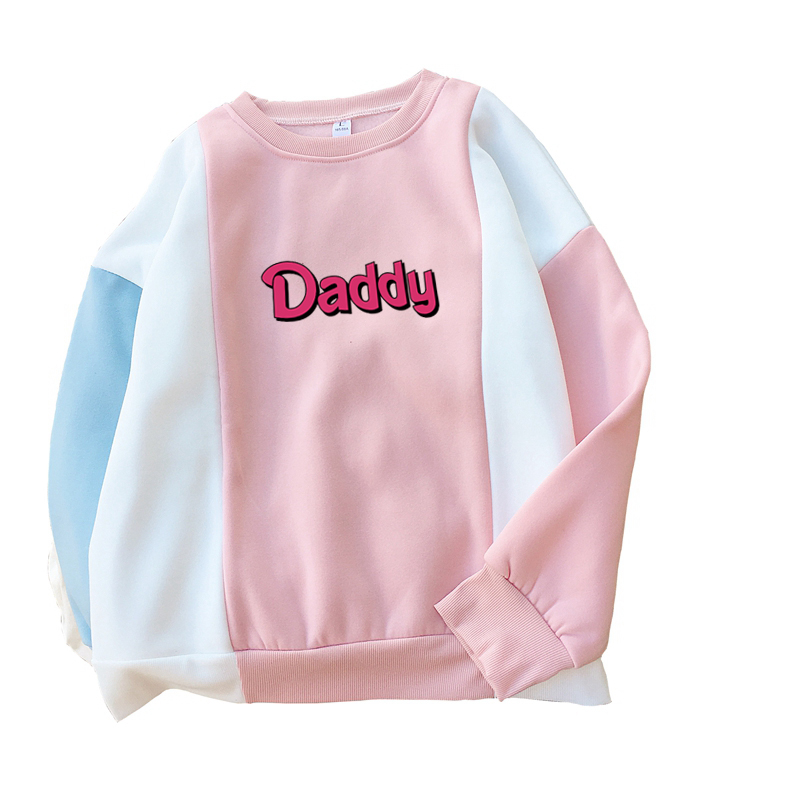 d665360124fe Fashion Autumn Winter Fleece Sweatshirts Women Color Block Splicing Raglan  Hoodies Casual Harajuku Funny Letter DADDY