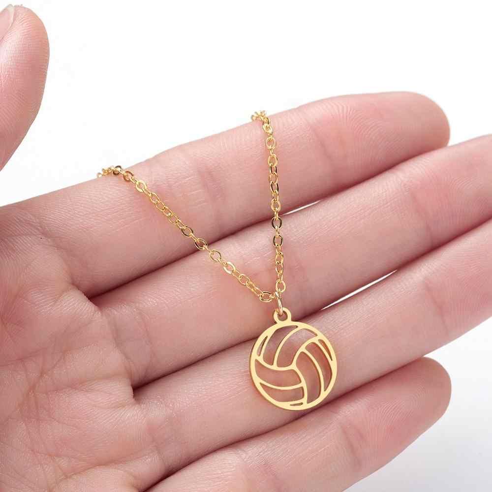 CHENGXUN COLLAR COLGANTE de voleibol joyería deportiva encanto de voleibol regalos bola colgante hueco diseño rosa oro deportes ventilador
