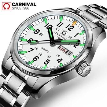 c452f1c1 Карнавал Элитный бренд часы Для мужчин кварцевые Для мужчин часы тритий  световой часы мужской Водонепроницаемый Военная reloj hombre C8638-8