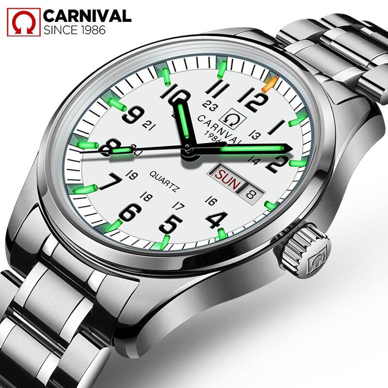 Carnaval marque de luxe montre hommes Quartz hommes montres Tritium lumière lumineuse montre mâle étanche militaire reloj hombre C8638-8