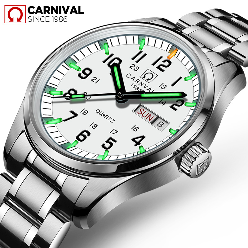 Carnival Luxury Brand Watch Men Quartz Men Watches Tritium Light Luminous Watch Male Waterproof Military reloj hombre C8638-8