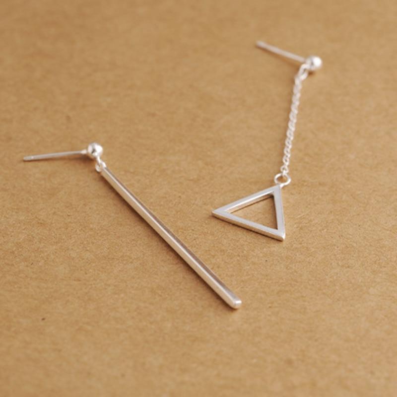 Nouvelle Arrivée Solide 925 En Argent Sterling 40mm Long Déséquilibre Triangle Droite Baisse Boucle D'oreille pour les Femmes