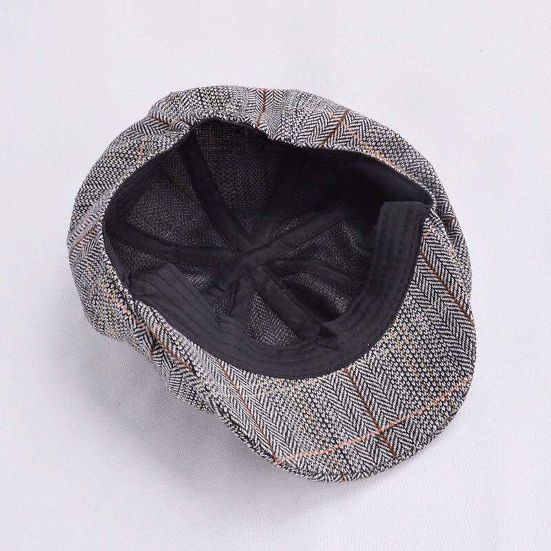 Men Beret Hat Gentleman Octagonal Cap Winter Spring Tweed Wool Newsboy Caps Plaid Man Beret 6