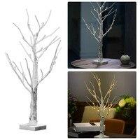 60 cm Silber Birke FÜHRTE Baum Lampe Landschaft Tisch Nachtlicht Festival Weihnachten Dekoration Geschenk Weiß/Warmweiß