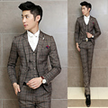 Costume Homme Mariage 2016 Vintage Suits Jackets Mens Grey Plaid Maillot Homme 3 Piece Suits Brown Formal Piano Dress Terno Slim