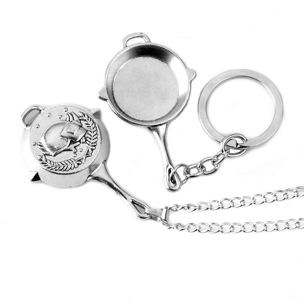 Game PUBG Necklace Zinc Alloy Pendant Pan Helmet Double Sides Medal Men Woman Fashion Jewelry Keychain Metal Keyring Fans Gift