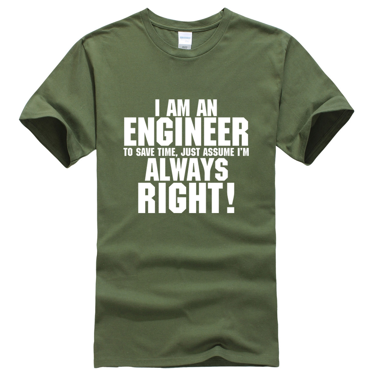 I AM AN ENGINEER printed letter summer 2019 men's T-shirts short sleeve cotton t shirt men harajuku jersey T-shirt free shipping