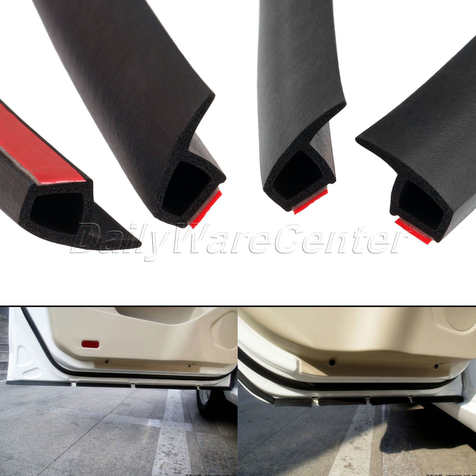 4 Meter P Type Car Door Rubber Seal Strips Soundproof Noise Insulation Sealing Strip Weatherstrip Edge Trim Waterproof Adhesive