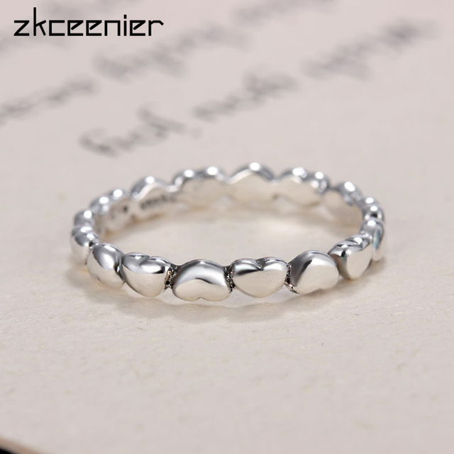 c9825a8d4 cheapest pandora earrings 18bbb b4c5f; where to buy fashion high qualtily  silver color linked love heart pandora ring compatible jewelry diy