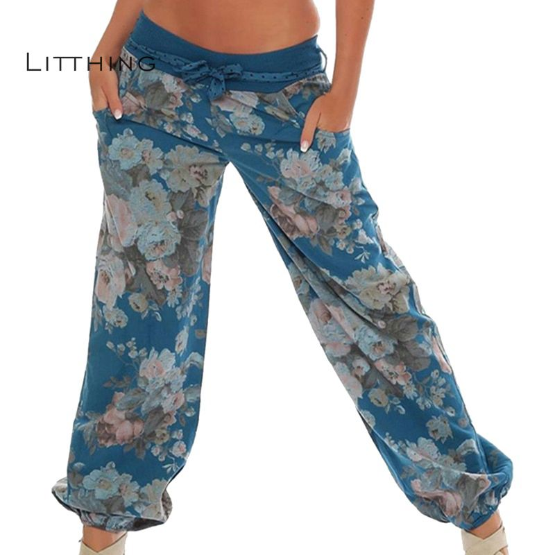 LITTHING 2018 Beach   Pants   Floral Print Casual   Wide     Leg     Pants   Long Casual   Pants   High Waist Loose Elastic Waist Trousers Plus Size