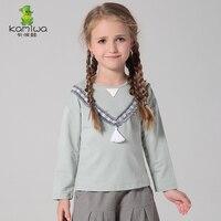 ガールtシャツkamiwa子供綿3-12年春秋女の子服新しいスタイル長袖子供服二つの