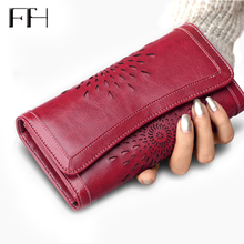 Classic Retro Luxury Sunflower hollow out Women's Cow Leather phone Wallet Card Holders Lady elegant Purse female long Clutches