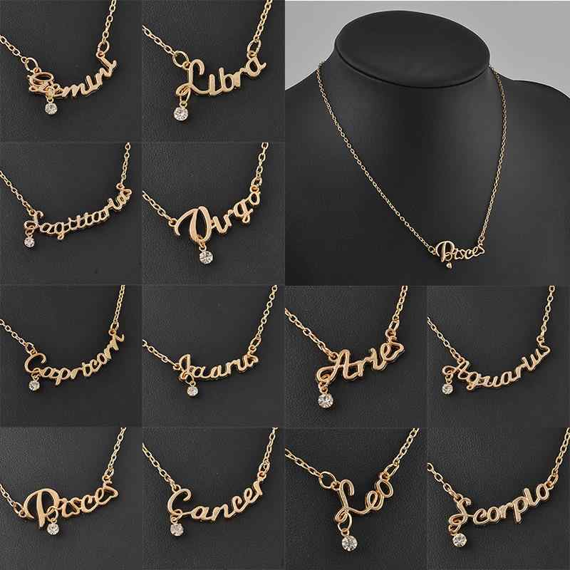 New Arrival Crystal 12 Zodiac Necklace Jewelry Zinc Alloy Infinity Choker Necklace For Women Wholesale P1114