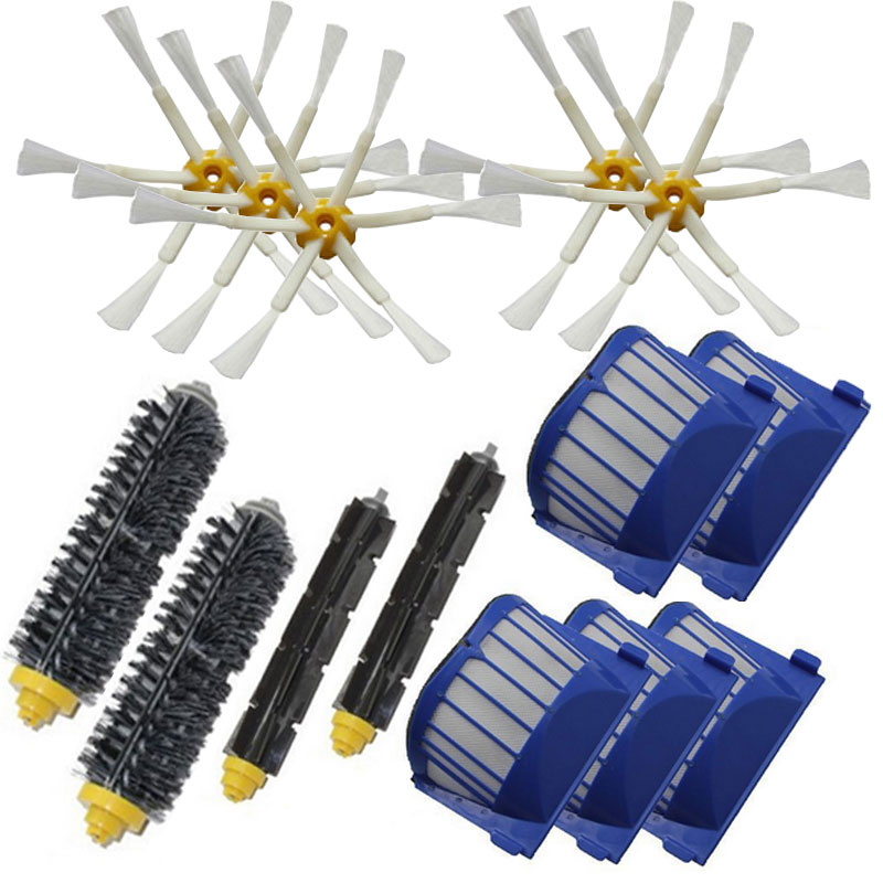 Beater Brush + Aero Vac Filter 6 Armed Side Brush for iRobot Roomba 528 529 595 610 620 625 630 650 660 vacuuming robot aero vac filter bristle brush flexible beater brush 6 armed side brush for irobot roomba 600 series 620 630 650 660 vacuum