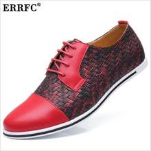 ERRFC Fashion Red Men Casual Comfort Shoes Round Toe Lace Up Flat With  Trending Leisure Shoes 4a8754705ced