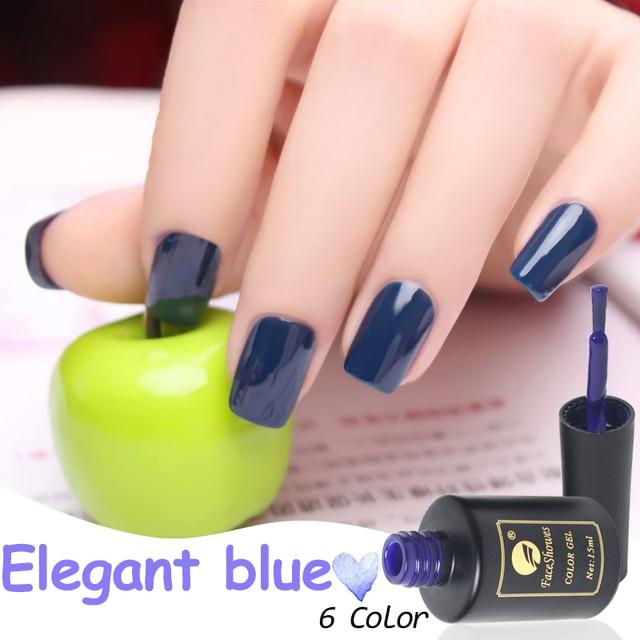 6 Couleur Vernis À Ongles Uv Lampe Gel Nai Semi Permanent Pur couleurs  Élégant Bleu 15