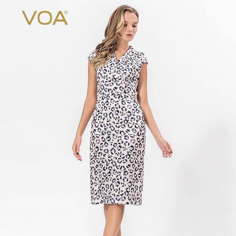 VOA été 100% lourde soie femmes Slim robe crayon Sexy à manches courtes costume col Animal imprimé bureau Blazer robe Vestido A2059