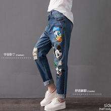 7XL плюс размер Лодыжки Длина Брюки 2017 летний новый женская мода джинсы мультфильм шаблон печати неупругие джинсы w1464
