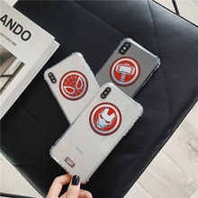 Superhero avengers ironman spiderman case for iphone xr xs max x 6 s 7 8 plus 10 marvel clear man spider captain America cover