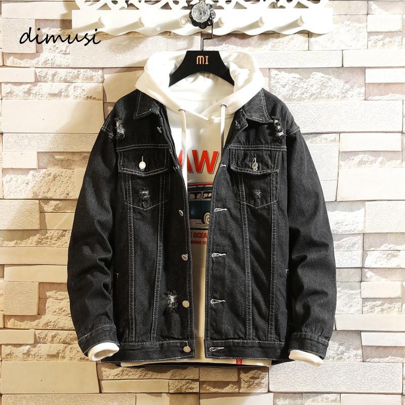 DIMUSI Mens Denim Jacket Spring Autumn Mens Trendy Fashion Bomber Coats Thin Ripped Denim Jacket Male Cowboy Jeans Jackets,YA858