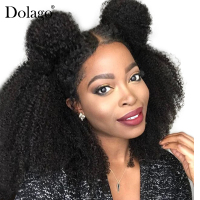 Afro Kinky Curly Human Hair Wig Natural Black 360 Lace Frontal Wig Brazilian Lace Frontal Wigs For Women 180% Long Remy Dolago