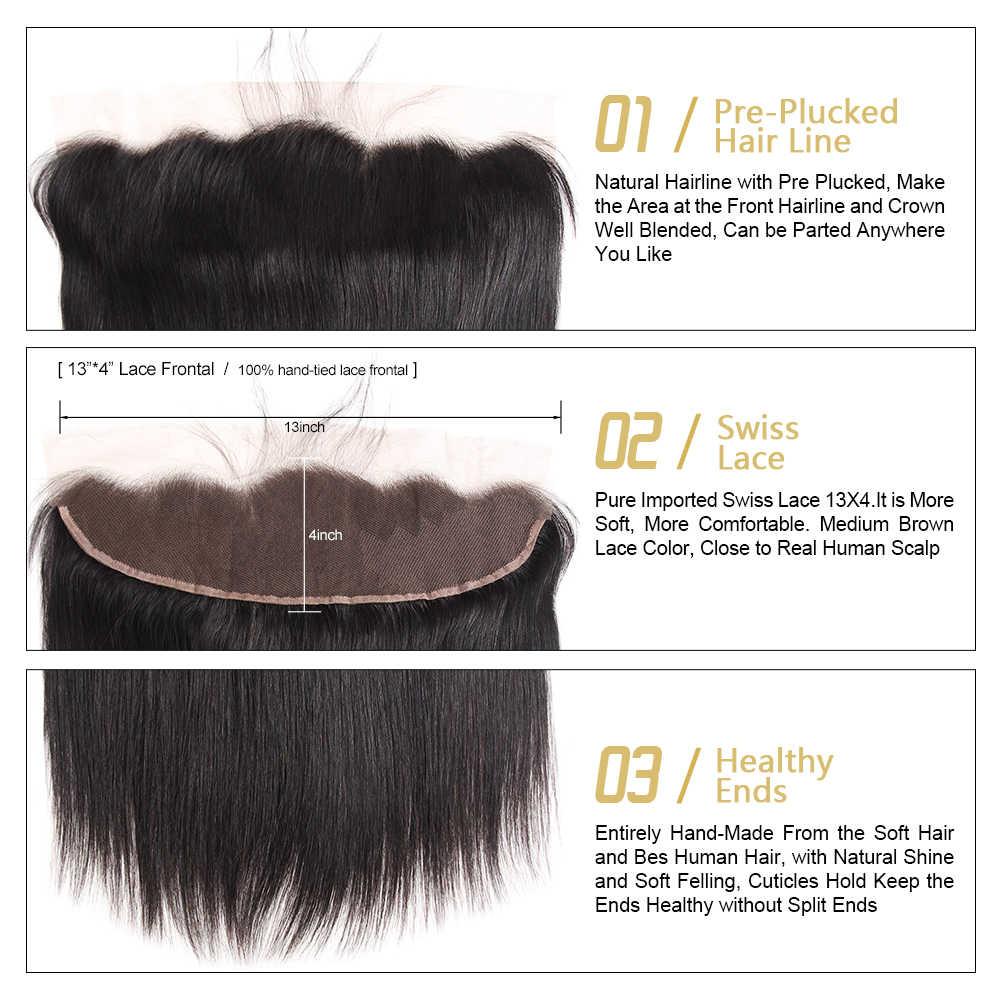 Paquetes de pelo recto malayo Funmi con 3 paquetes frontales con cierre Frontal de encaje de cabello humano virgen Frontal con paquetes