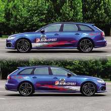 World Datong Both side body sport auto stickers For Audi A6 S6 RS6 Auto Body Customized Decal Exterior Accessories