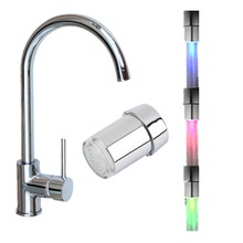 1pc LED Light Temperature Sensor Water Faucet Tap Intelligent Recognition Temperature 3 color RGB change Water Tap Faucet Shower free shipping 1 piece temperature sensor 3 color water tap faucet rgb glow shower colorful led light lamp with adapter