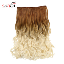 SARLA 100pcs/lot Ombre Clip In Hair Extensions 50cm 20inch 130g Synthetic Wavy 2 Tones Resist High Temperature Hairpieces 888