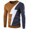Free shipping Lightning stitching design men's long-sleeved sweater Korean version of the new
