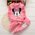 Минни маус дети девушки одежды комплект симпатичные микки малыша мультфильм печать футболки + свободного покроя брюки спортивный костюм Vetement Enfant Fille