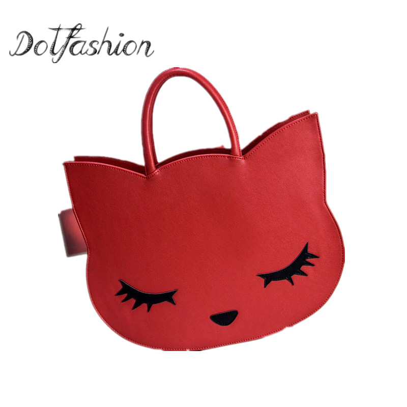 2017 Cartoon Cats Handbag New Brand Designer Fashion Cute Women s Pu Leather Handbag Cat Hand