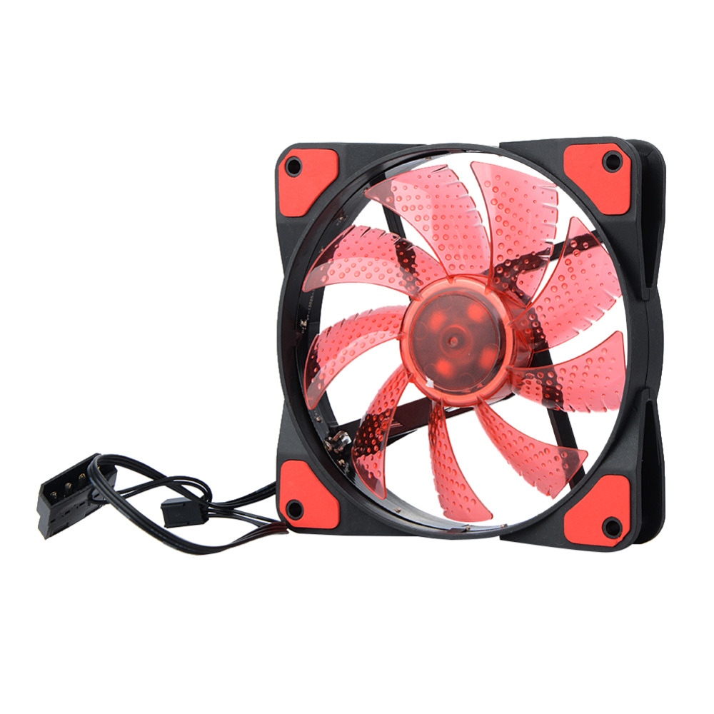 DC 12V <font><b>4Pin</b></font> 3Pin <font><b>120</b></font>*<font><b>120</b></font>*25mm 15 Lights LED Silent <font><b>Cooler</b></font> Fan PC Computer Chassis Fan Case Heatsink Cooling Fan image